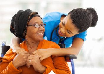 elderly man and a nurse